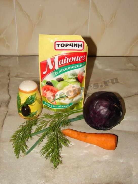 ингредиенты для салата из фиолетовой капусты