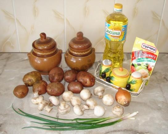 Картофель с грибами в горшочке 1