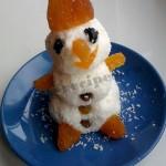 Детский десерт «Новогодний»: снеговичок из творога