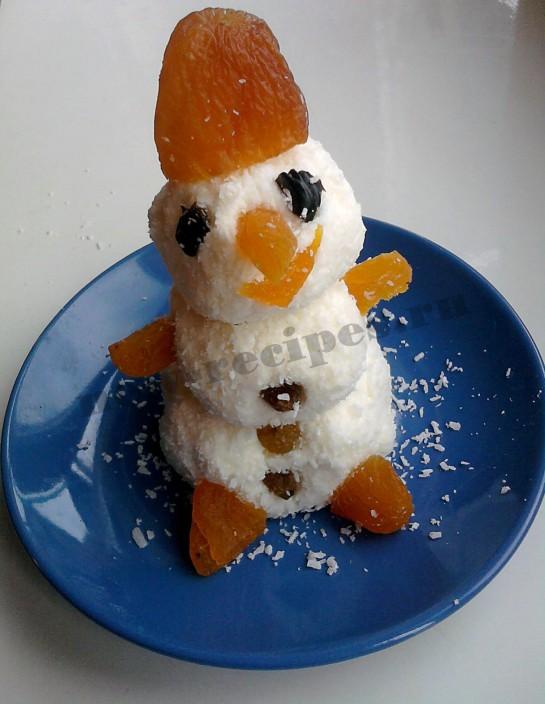 Новогодний десерт Снеговичок 5