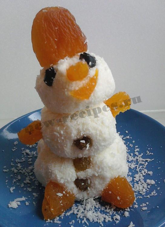 Новогодний десерт Снеговичок