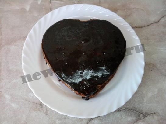 торт сердце шоколадный бисквит 20