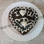 Торт в форме сердца – шоколадный бисквит с вишней