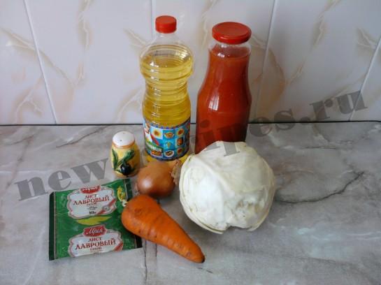 ингредиенты для тушёной капусты