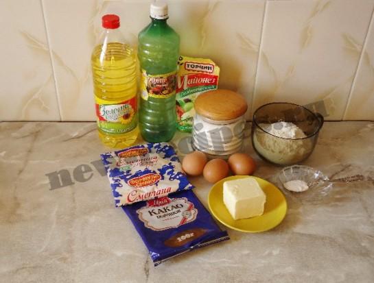 ингредиенты для пирога зебра
