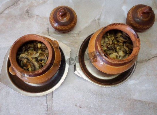 гречка с грибами в горшочках фото 5