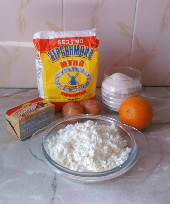 ингредиенты для пирога с творогом и апельсином