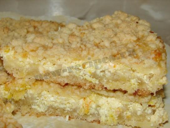песочный пирог с апельсином и творогом