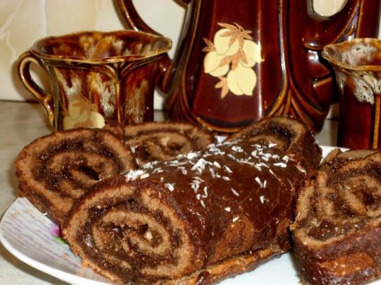 шоколадный бисквитный рулет с кремом 20