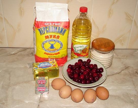 ингредиенты для пирожков с вишнями
