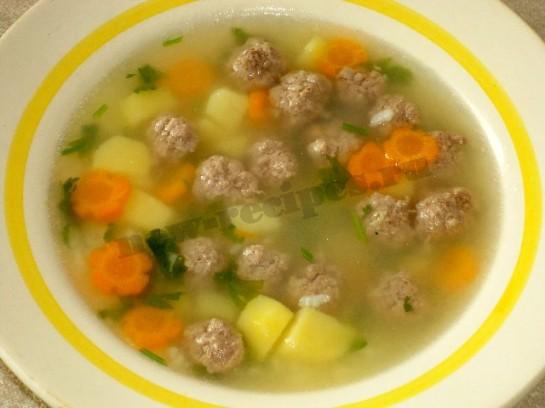 Суп с фрикадельками из мяса и риса рецепт с фото