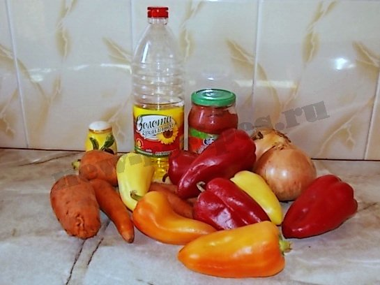 ингредиенты для салата из сладкого перца