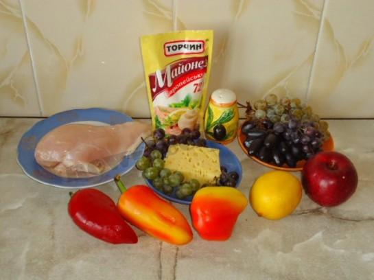 ингредиенты для салата с виноградом