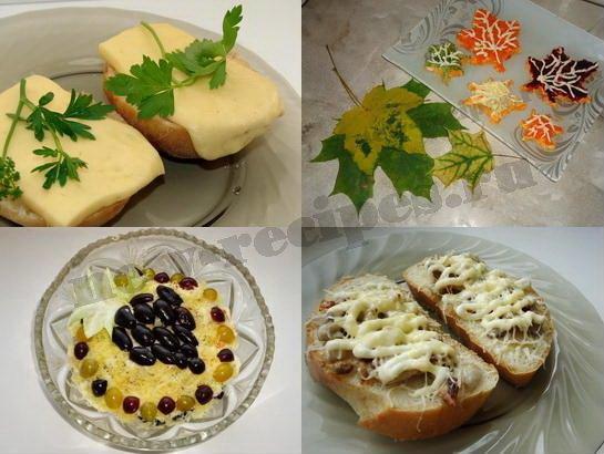 самые красивые осенние салаты и бутерброды