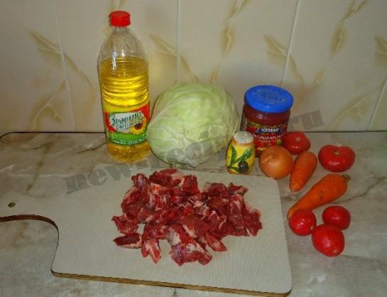 рецепт вкусной тушеной капусты с мясом 1