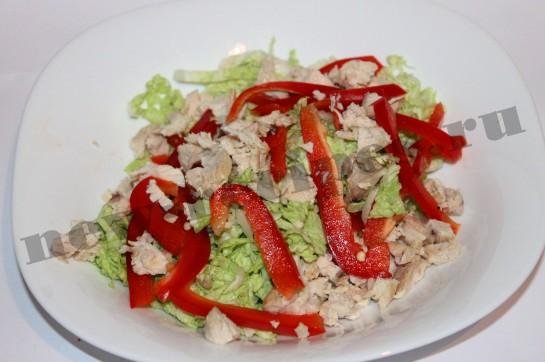 Рецепт салата пекинская капуста, куриная грудка 6