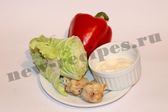 рецепт салата пекинская капуста, куриная грудка 1