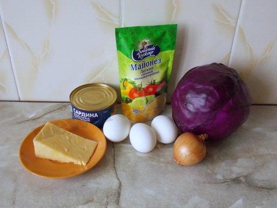 ингредиенты для салата тельняшка