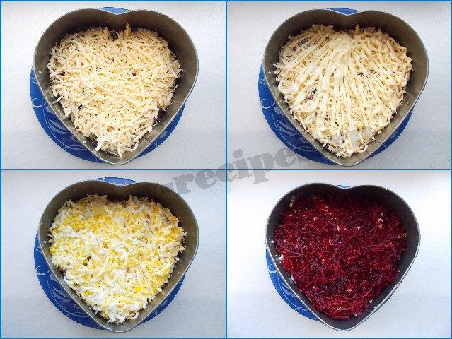 как приготовить салат в виде сердца