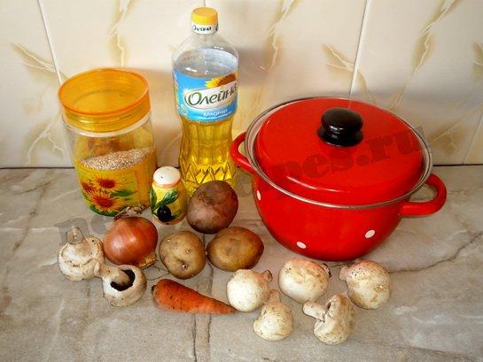 ингредиенты для супа с шампиньонами