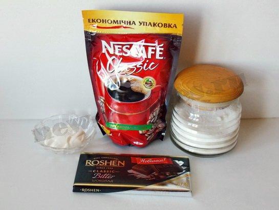 ингредиенты для кофе со сливками и шоколадом