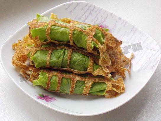 Блины кружевные листья салата фото