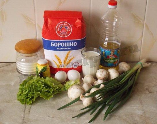 ингредиенты для кружевных блинчиков с грибами