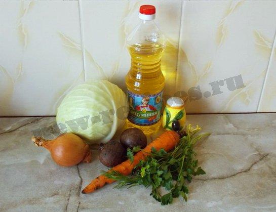 ингредиенты для салата из сырых овощей