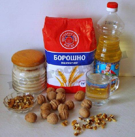 ингредиенты для кекса с грецкими орехами