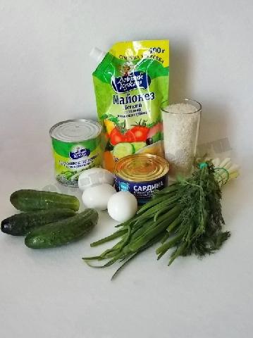 ингредиенты для салата с рисом и сардиной