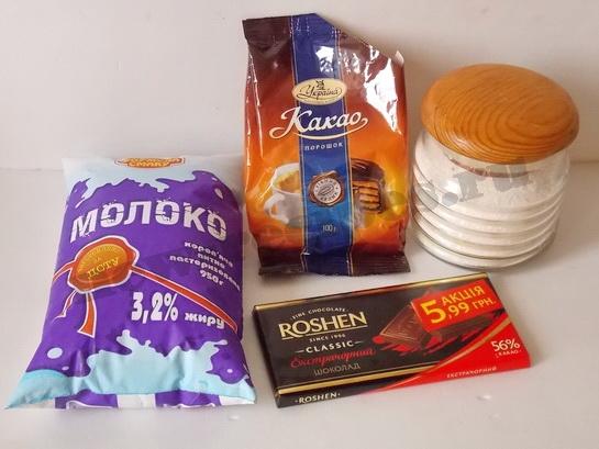 ингредиенты для шоколадного коктейля с какао