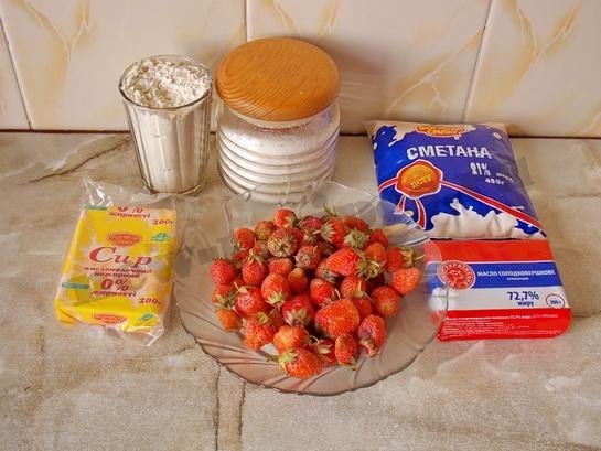 ингредиенты для клубничных корзиночек с творогом