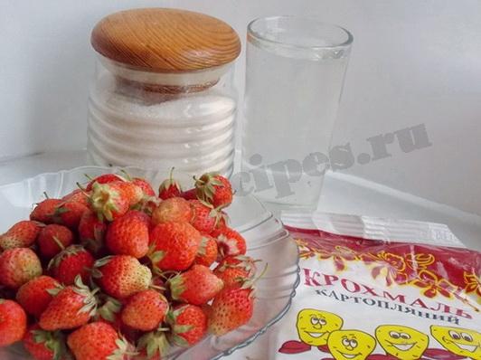 ингредиенты для киселя из клубники