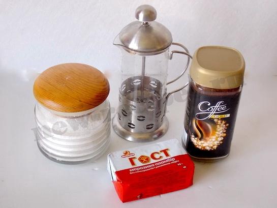 ингредиенты для кофе гляссе с мороженым