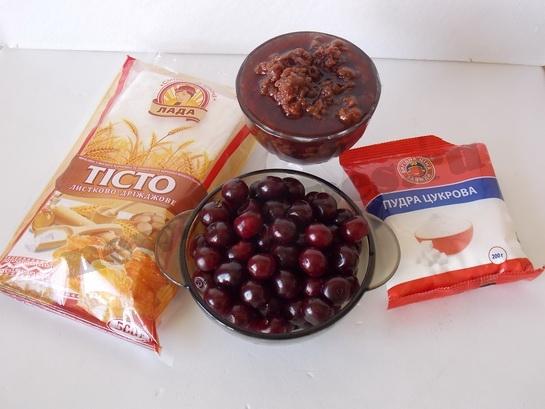 ингредиенты для слоеного пирога с вишнями
