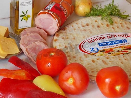 ингредиенты для пиццы с болгарским перцем, ветчиной и сыром