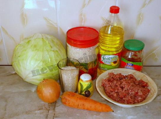 ингредиенты для голубцов с фаршем и рисом
