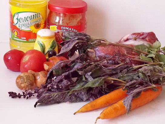 ингредиенты для мяса с базиликом