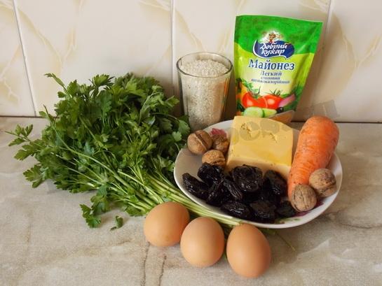 ингредиенты для салата берёза с черносливом