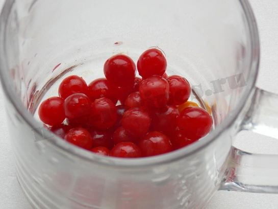 ягоды калины насыпать в чашку