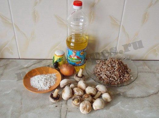 ингредиенты для гречаников с грибами