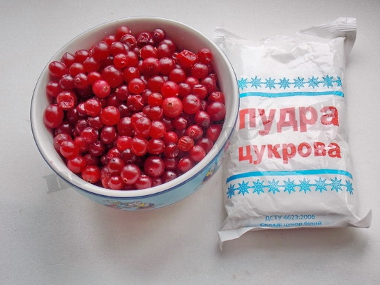 ингредиенты для клюквы в сахарной пудре