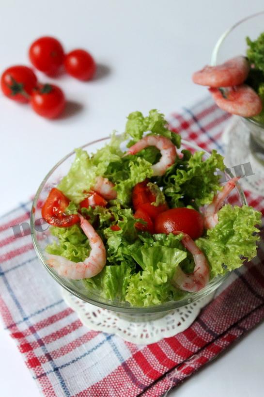 Диетический салат с креветками 6