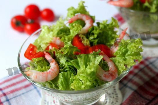 Диетический салат с креветками 7