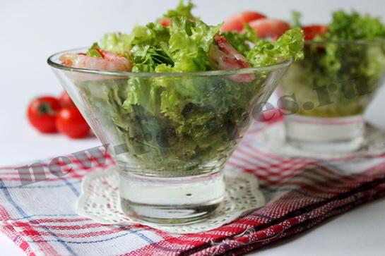 Диетический салат с креветками 8