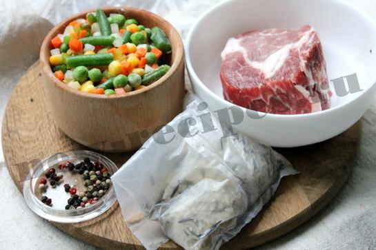 ингредиенты для риса с овощами и мясом