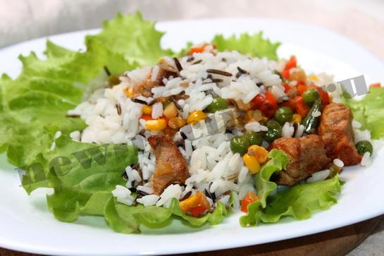 рецепт риса с мясом и овощами