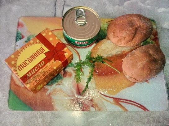 ингредиенты для бутербродов с красной икрой