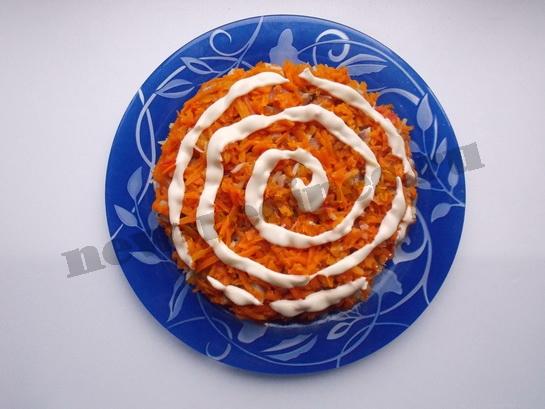 поверх морковки майонезная сеточка