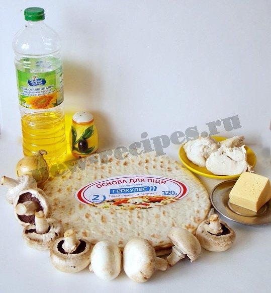 рецепт пиццы с грибами и с курицей